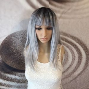 Silver gray wig with bangs